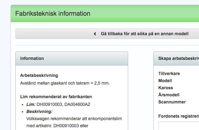 Skärmbild på funktionen fabriksteknisk information i ATI-Glas.