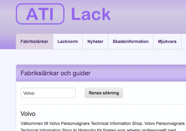 Skärmbild på funktionen fabrikslänkar i ATI-Lack.