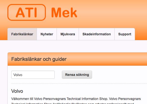 Skärmbild på funktionen fabrikslänkar i ATI-Mek.