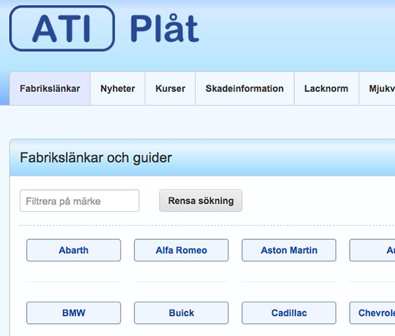 Skärmbild på funktionen fabrikslänkar i ATI-Plåt.
