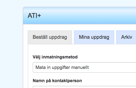 Skärmbild på beställning i ATI-Plus.