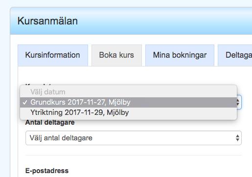 Skärmbild på kursbokning i ATI-Plåt.
